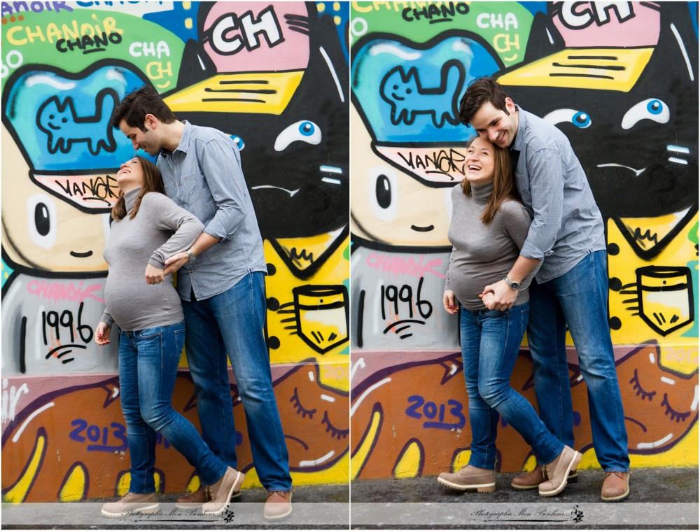 bon cadeau à offrir séance photo, photographe à paris, photographe de maternité, photographe de maternité au canal saint martin, portrait de couple en extérieur, séance photo, séance ventre rond