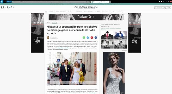 publication Zankyou weddings, bonheur, la mariée, mariage, photographe de mariage, spontanéité, vos photos de mariage, weddings